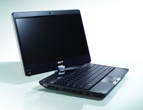 Acer 1820pt mentre lo schermo ruota per la conversione in tablet