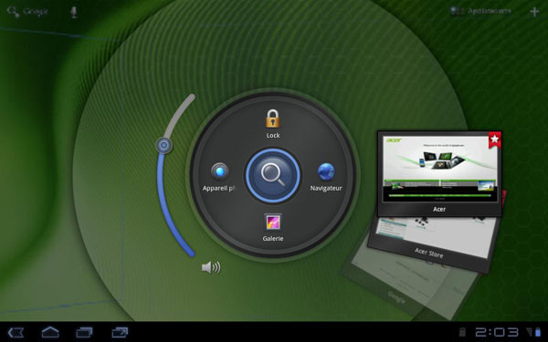 Screenshot della home Adroid del tablet Acer Iconia Tab A200