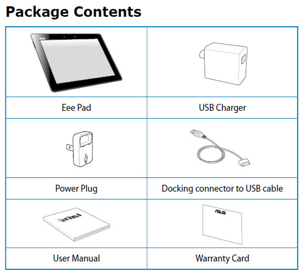 Asus Eee Pad Transformer Prime packaging