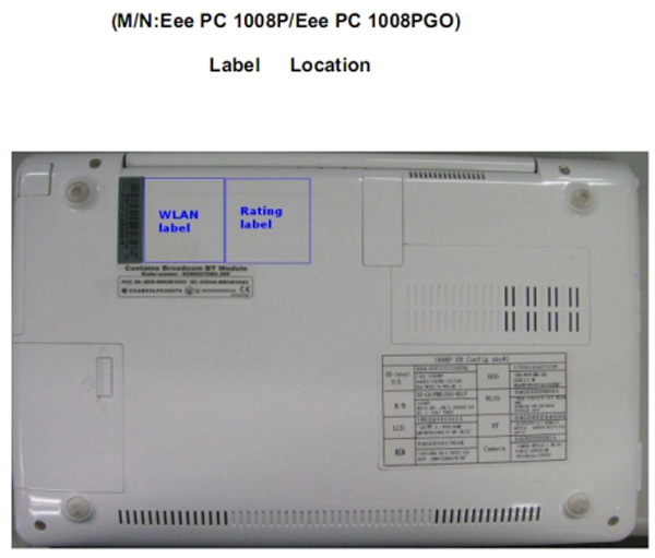 Asus Eee PC 1008PGO da FCC