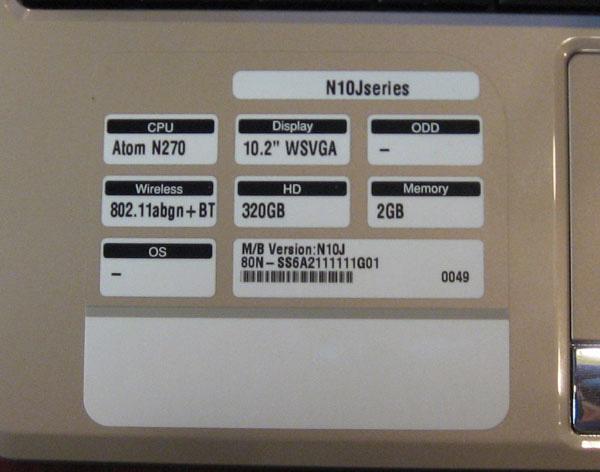 Caratteristiche tecniche Asus N10