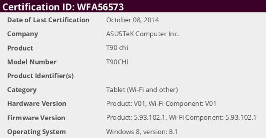 ASUS T90 Chi sul database di WiFi alliance