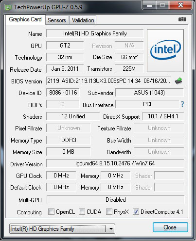 GPUz: Intel GMA HD 3000