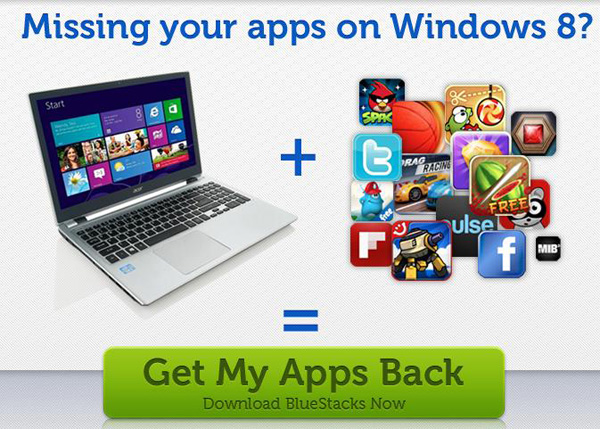 BlueStacks per Windows 8