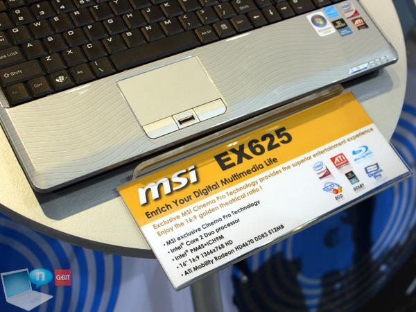 MSI EX625 spec