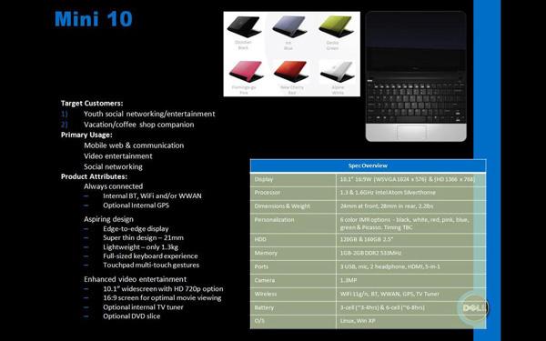 Dell Mini 10 specifiche