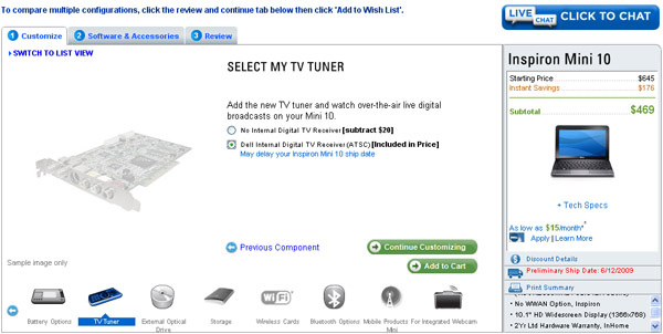 Dell Mini 10 con TV Tuner