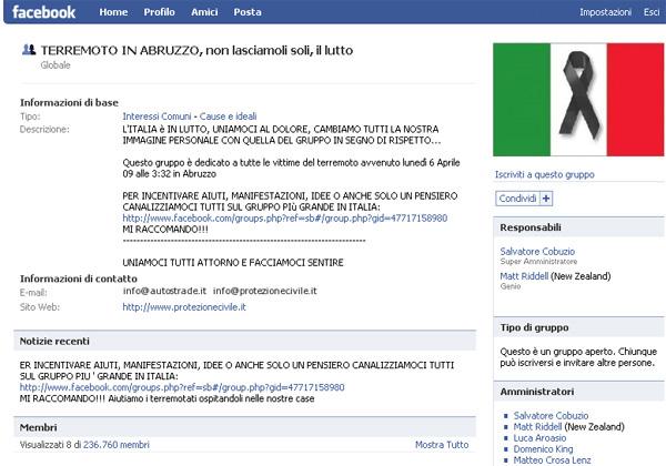 Facebook solidarietà terremoto