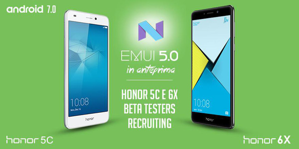 Honor 6X e Honor 5C: Android 7.0 Nougat in beta testing