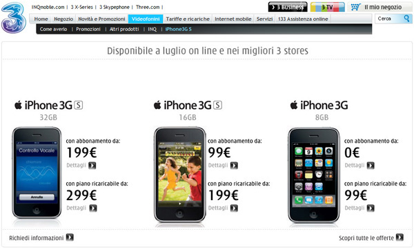 iPhone 3G S tariffe 3 Italia