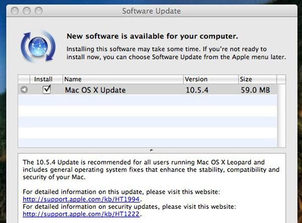 Screenshot aggiornamento Apple Mac OS X 10.5.4