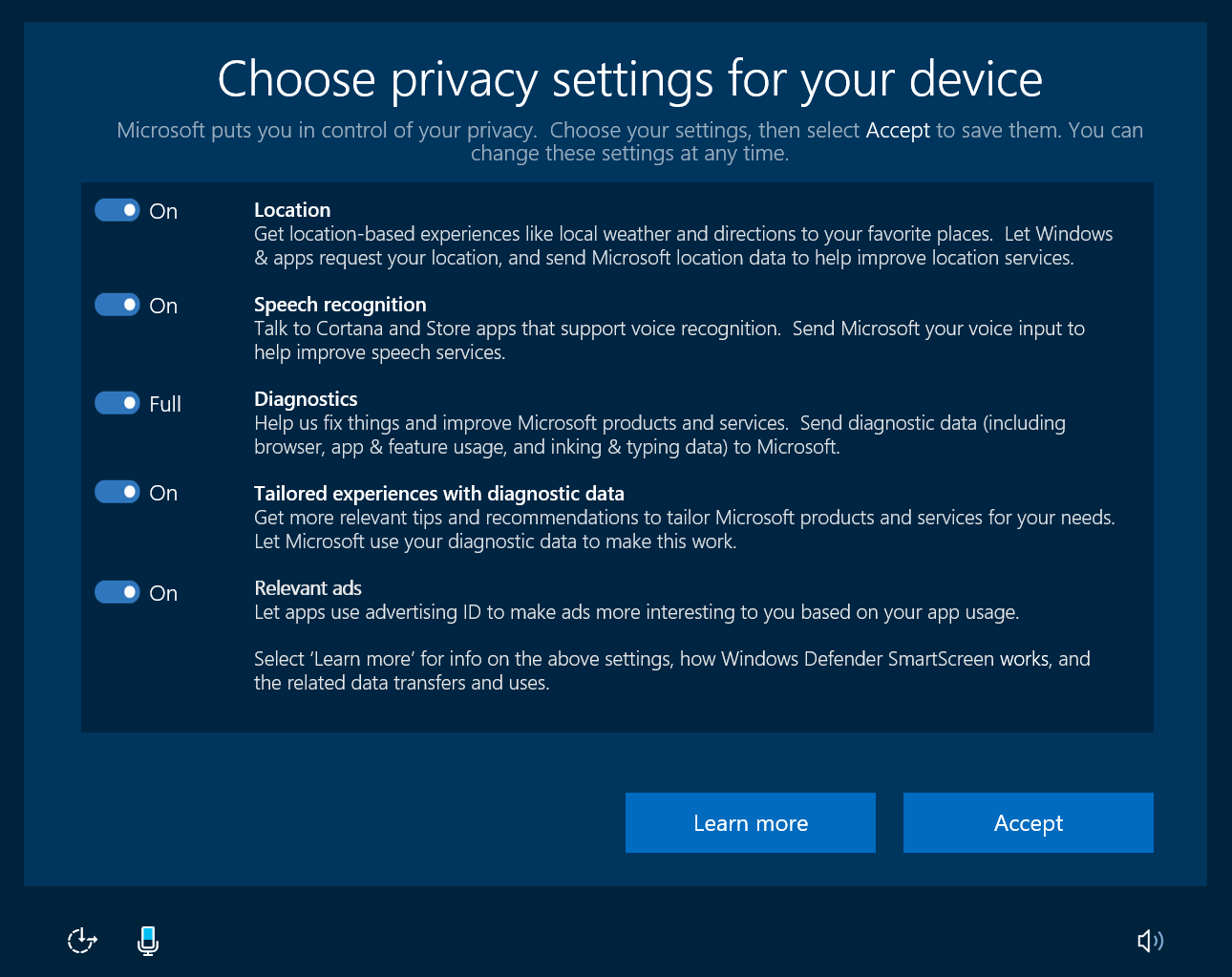 Dashboard privacy in Windows 10