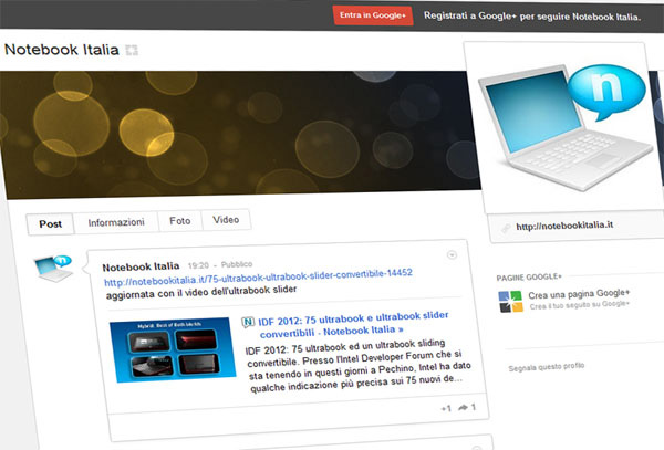 Notebook Italia su Google+
