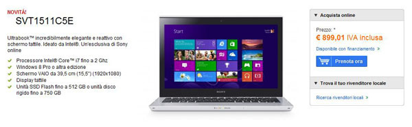 Sony VAIO T15 in preordine