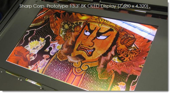 Sharp display OLED da 13.3 pollici 8K