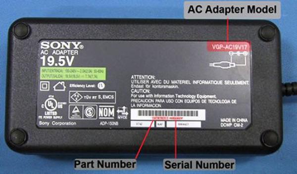 Sony VAIO alimentatore