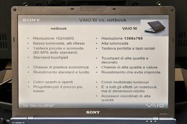 Sony VAIO W e netbook