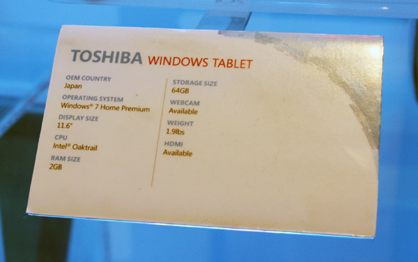 Tablet Toshiba da 12 pollici specifiche tecniche