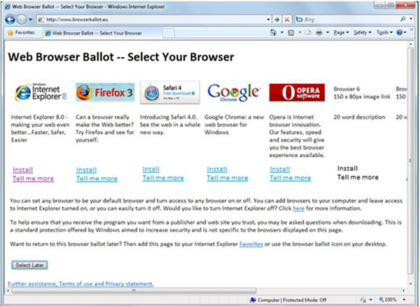Windows 7 scelta browser