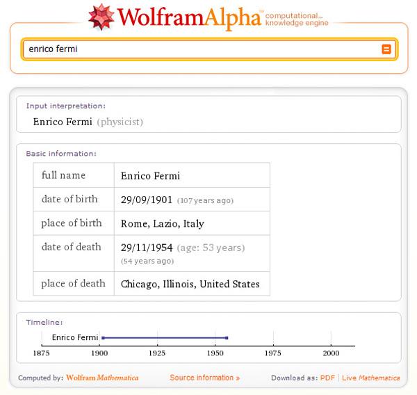 Ricerca sul motore di conoscenza Wolfram Alpha