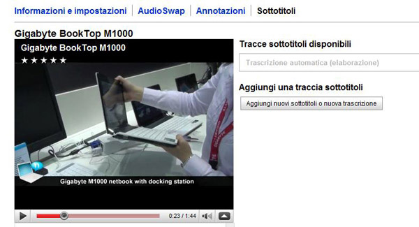 sottotitoli automatici youtube
