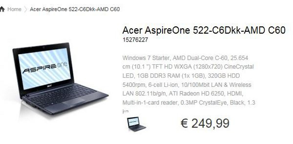 Acer Aspire One 522 con APU AMD C-60