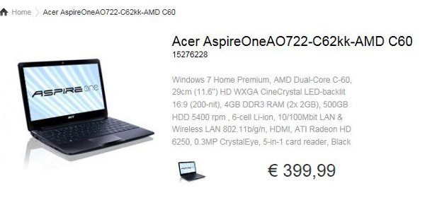 Acer Aspire One 722 con APU AMD C-60