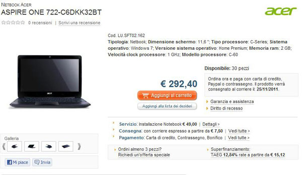 Acer Aspire One 722 con AMD C-60