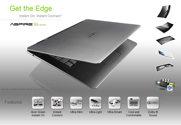 Acer Ultrabook S3 sito