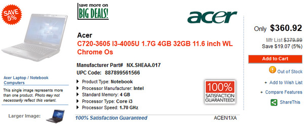 Acer C720 Chromebook con Intel Haswell