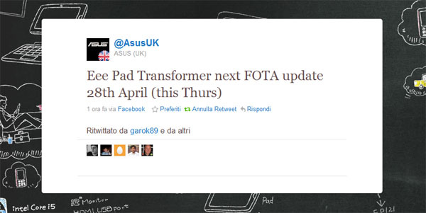 Firmware update per il tablet Asus Eee Pad Transformer