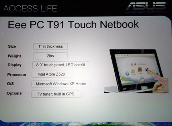 Scheda tecnica del tablet netbook Asus EeePC T91