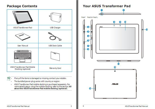 Asus Transformer Pad TF300 manuale