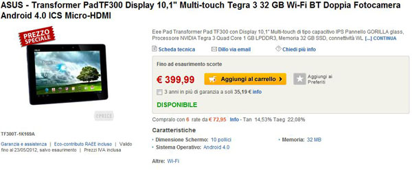 Asus Transformer Pad TF300 in vendita
