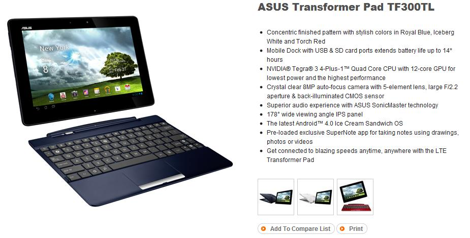 Drivers: ASUS Transformer Pad TF300TL