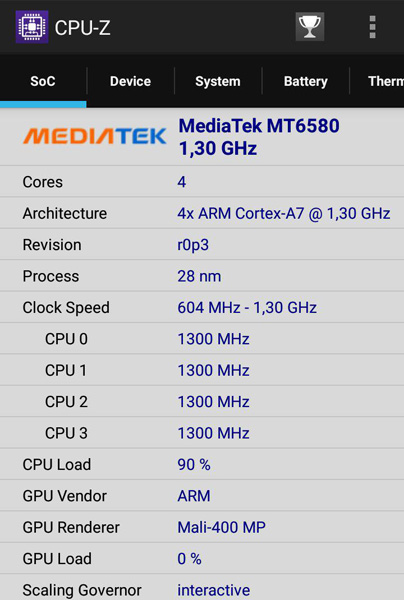 CPUz: Mediatek MT6580