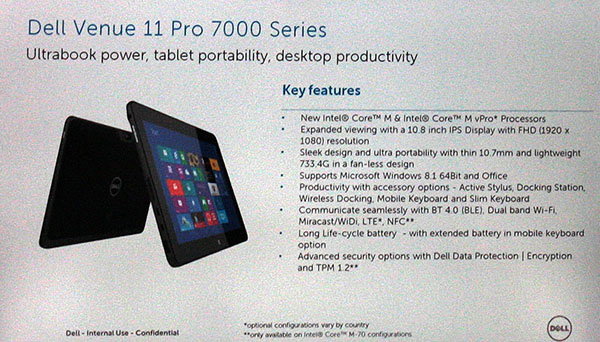 Dell Venue 11 Pro specifiche