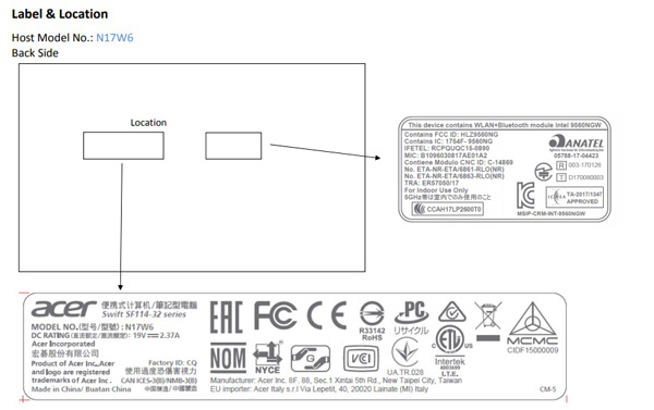 Acer Swift 1 (SF114-32) da FCC