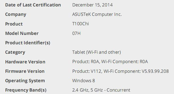 ASUS Transformer Book T100 Chi da WiFi-Alliance