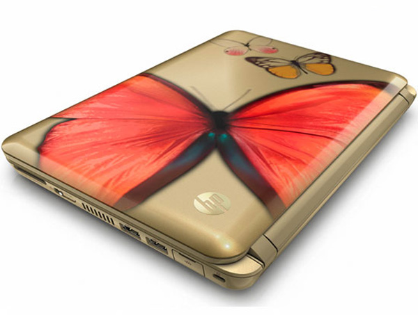 Decorazione Butterfly Lovers sul netbook HP Mini 210
