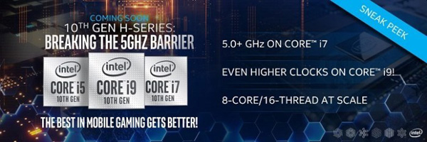 Intel Comet Lake-H per notebook ad alte prestazioni