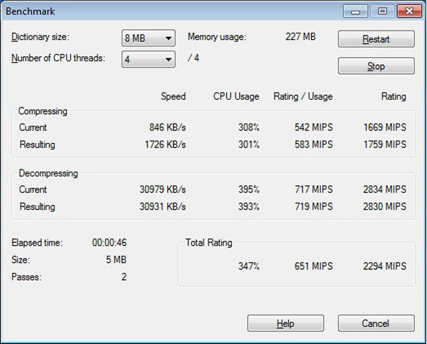 Test multithreading Atom N550: 7Zip 8MB con 4 thread