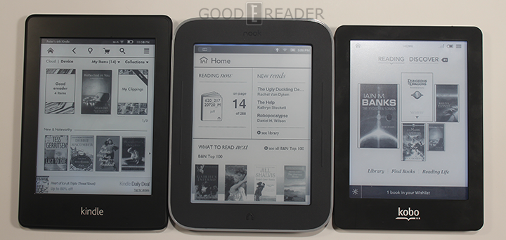 Kindle Paperwhite, Kobo Glo e Nook Glowlight