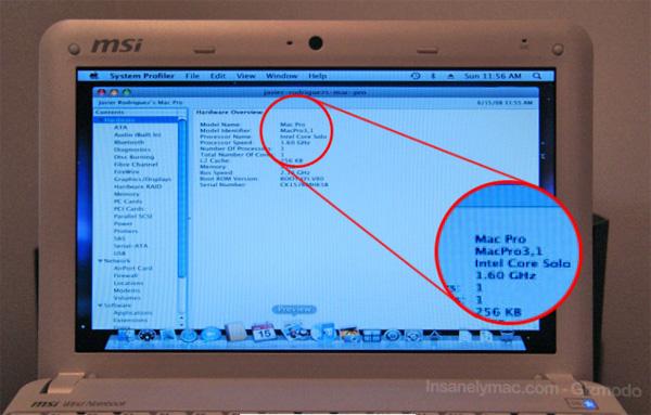 MSI Wind Mac OS X