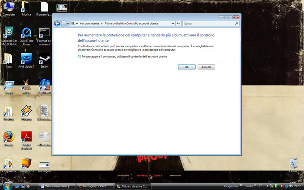 Disabilitazione di UAC su Windows