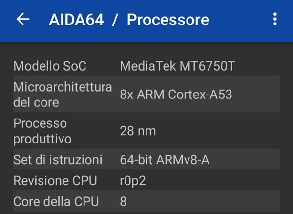 Il processore è un Mediatek MT6750T