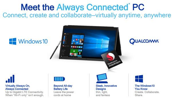 c59bfa5fc3297 Always connected PC è una nuova categoria di notebook 4G con Windows 10 e  Qualcomm Snapdragon
